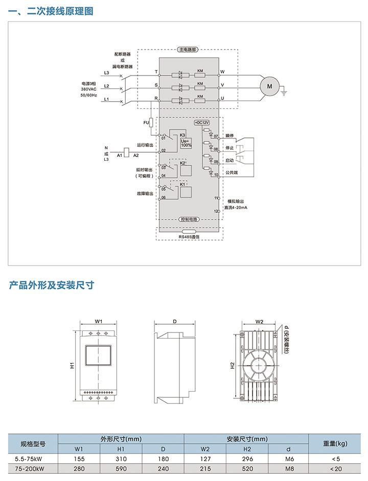 旁路智能軟啟動器接線圖與外形尺寸