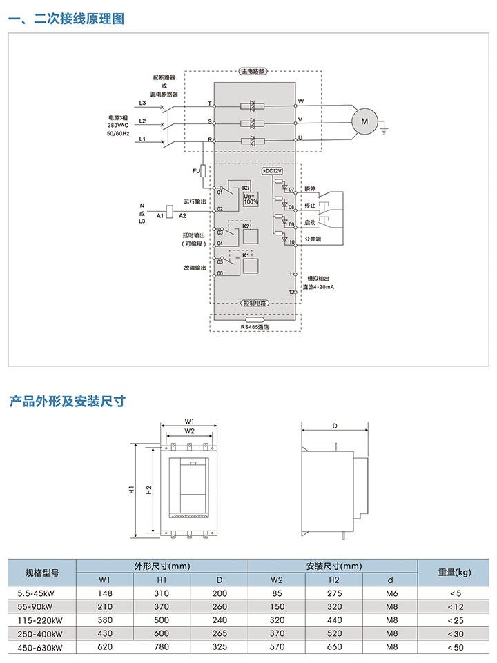 在線式智能軟啟動器接線圖及外形尺寸